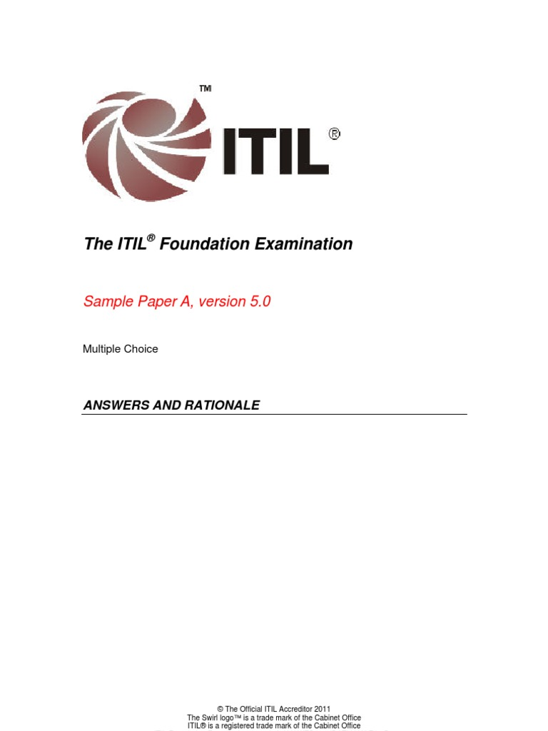 Itil Foundation Examination Samplea Answers And Rationales V50