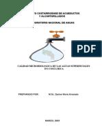 Calidad Micro Biologic A en Las Aguas Superficiales de Costa Rica
