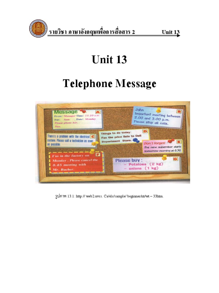 Telephone Messages Question Leisure