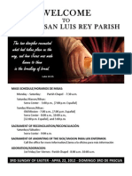 Mission San Luis Rey Parish Bulletin for April 22, 2012