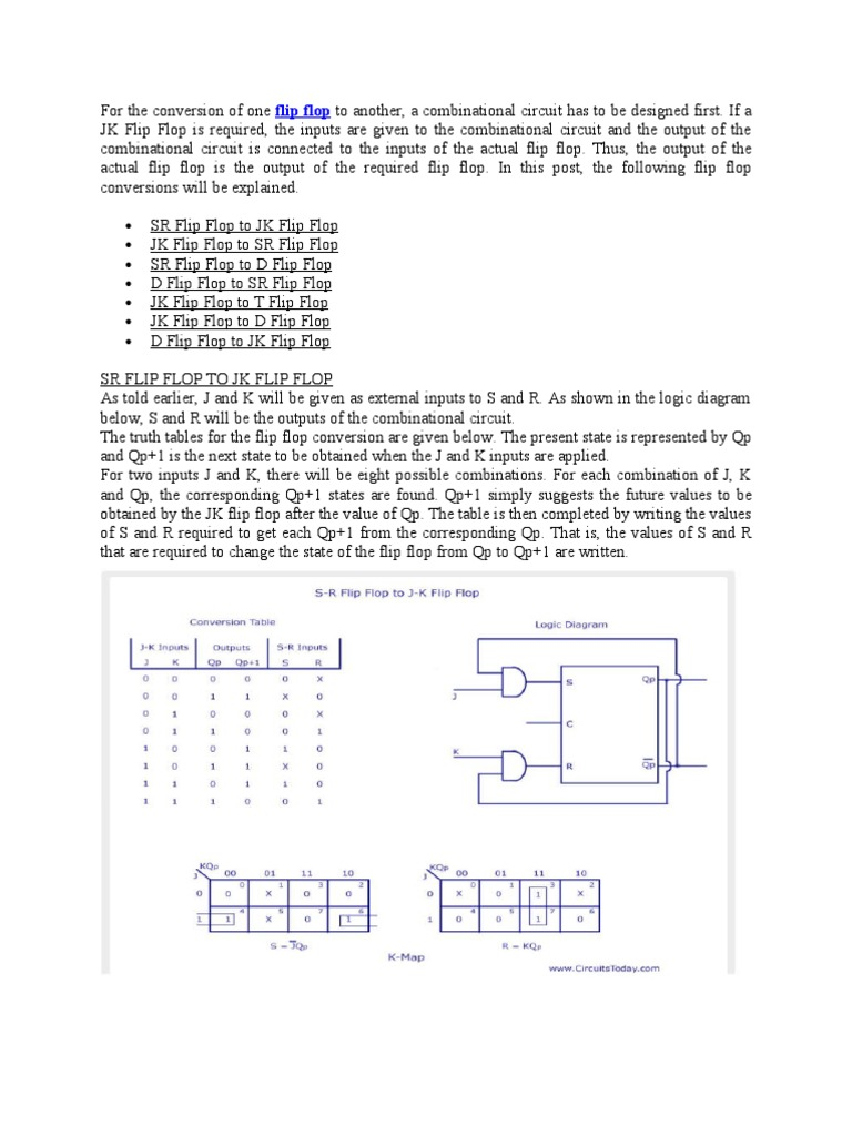 For The Conversion Of One Flip Flop To Another Logic Electronic Circuit Diagram D Engineering