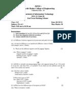 PA & I End Term Marking Scheme