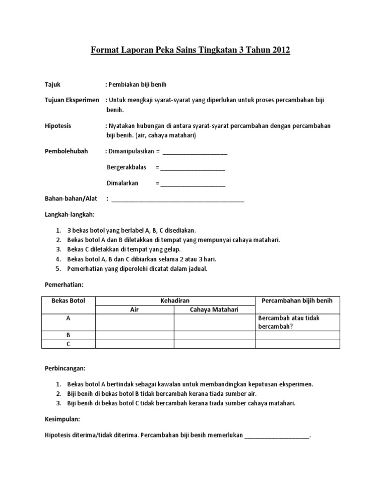 Format Laporan Peka Sains Tingkatan 3 Tahun 2012