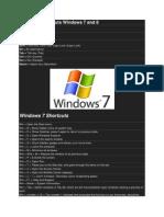 Keyboard Shortcuts Windows 7 and 8