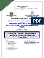 Groupe 2 - Afrique, Quels Changments après la faillite CHAP 1 & 2