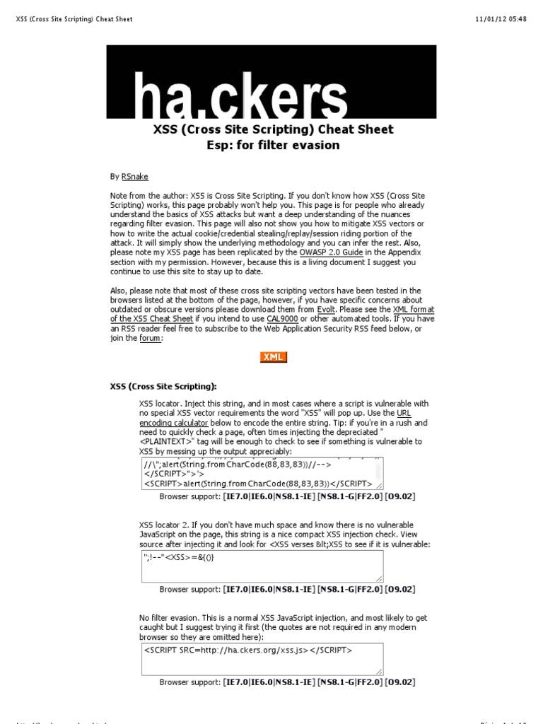 XSS (Cross Site Scripting) Cheat Sheet   Java Script   Html