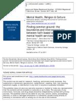 Faith Based Organizations and Mental Health Care