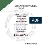 Business Plan Entreprenureship Project