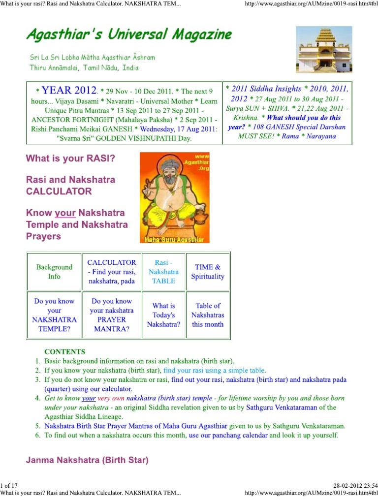 What is Your Rasi_ Rasi and Nakshatra Calculator ...
