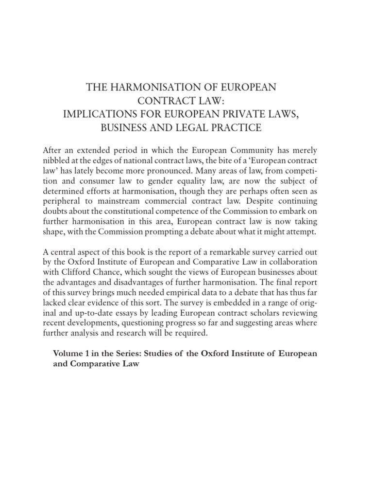 The Harmonisation of European Contract Law-Implications for European ...