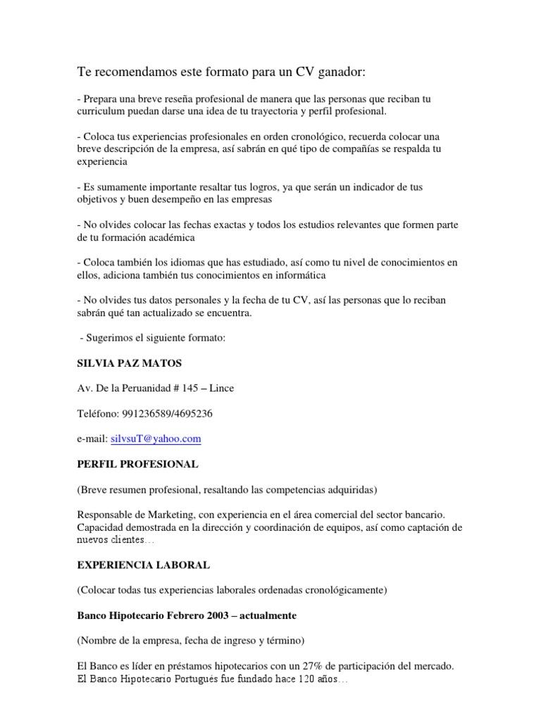 Lujo Resumen De Cv Bandera - Ejemplo De Currículum Comercial Ideas ...