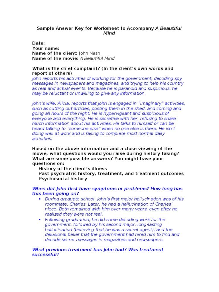 Uncategorized A Beautiful Mind Worksheet sample answer key for worksheet to accompany a beautiful mind antipsychotic clinical psychology