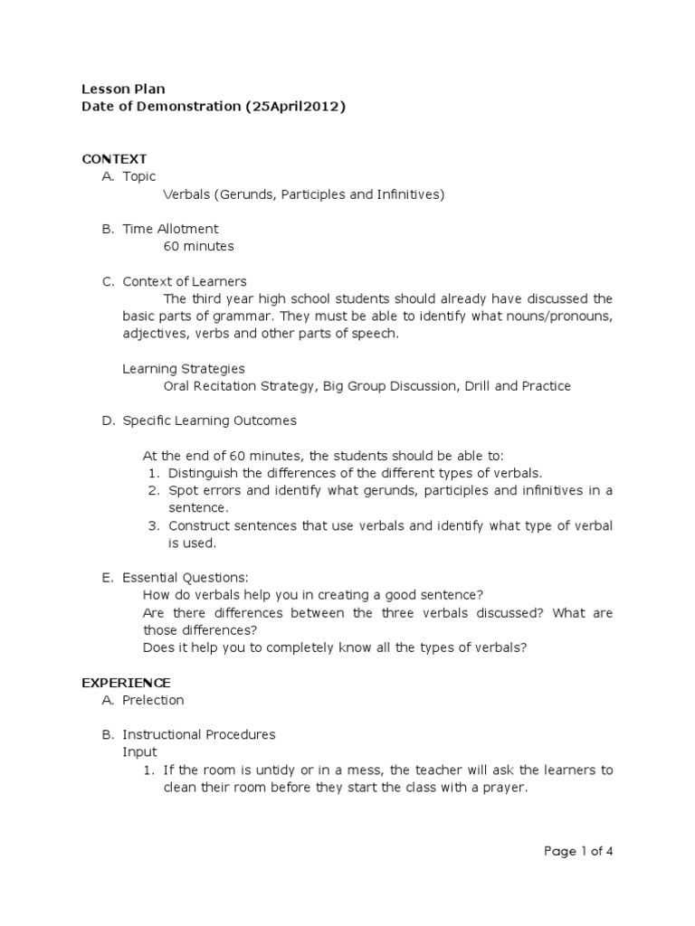 Lesson Plan on Verbals Verb – Parts of Speech Worksheet High School