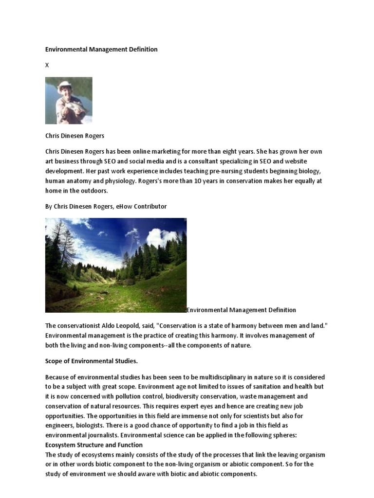Environmental Management Definition | National Environmental Policy ...