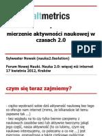 Altmetrics - mierzenie aktywności naukowej w czasach 2.0
