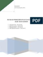 Sejarah an Ilmu Manajemen