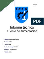 Informe Tecnico de La Fuente de Alimentacion Nicolas Parada