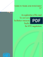 Exploration of the Need for and Cost of Selected Trade Facilitation Measures in Asia and the Pacific in the Context of the WTO Negotiations an Studi
