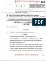CBSE Class 10 French Exam Paper 2011 (Set 2)
