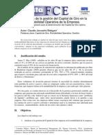 El Impacto de la gestión del Capital de Giro en la rentabilidad operativa de la empresa