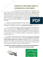 Comunicado de La RedVerde de Apoyo a La Huelga General Del 29 de Marzo