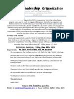 2012 Summer Intern Application