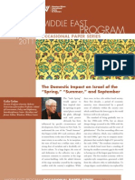 """The Domestic Impact on Israel of the """"Spring"""", """"Summer"""", And September"""""""