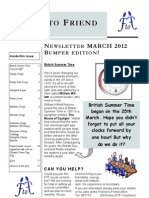 Friend to Friend Newsletter March 2012