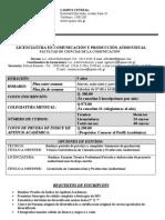 Licenciatura en Comunicacin y Produccin Audiovisual 2012