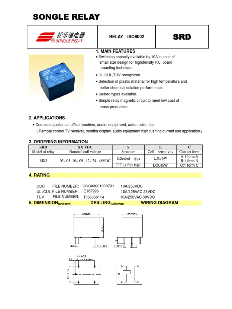 1509655854 relay songle datasheet relay inductor form c relay wiring diagram at mifinder.co