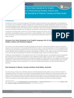 Comparing the Common Core State Standards for English Language Arts & Literacy in History/Social Studies, Science and Technical Subjects and the Standards of Alberta, Canada and New South Wales, Australia