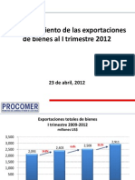 Exportaciones de Costa Rica I Trimestre 2012