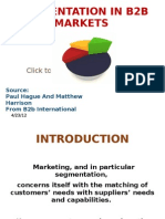 Segmentation in b2b Markets