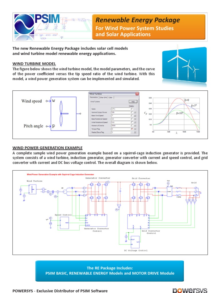 Psim Renewable Energy Wind Solar Diagram And Control
