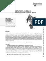 ALFABETIZACIÓN ACADÉMICA COMPRENSIÓN Y PRODUCCIÓN DE TEXTOS