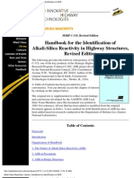 Handbook for the Identification of Alkali-Silica Re Activity in Highway Structures,Revised Edition