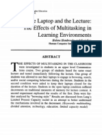 The Laptop and the Lecture the Effects of Multitasking in Learning Environments