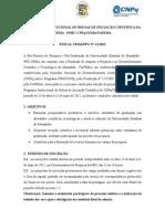 Edital Para Concessao de Bolsas Iniciacao Cientifica -2012