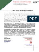 CGE A15-04-12 Comunicado de Prensa - Aclaración Asamblea General Estudiantes
