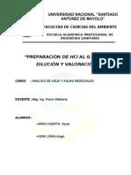 Preparación y valoración de HCl al 0.1 N