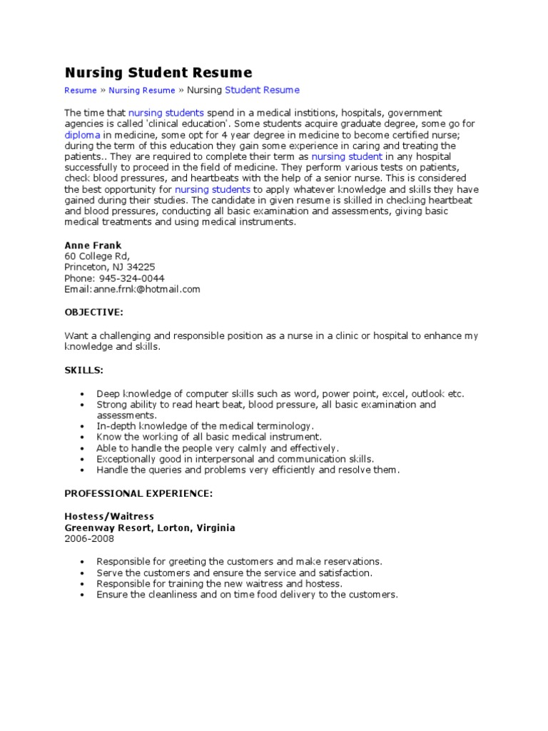 Nursing Student Resume Nursing Emergency Department