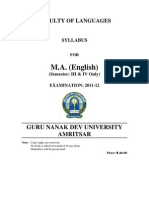 m a English Semester III and IV Only