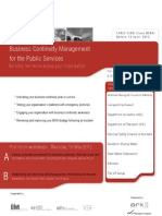 Business Continuity Management for the Public Services