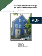 Study of Cumulative Energy Use of Historical Versus Contemporary Windows