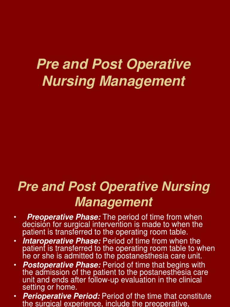 chapter 20 nursing management postoperative care Chapter 01: health care delivery and evidence-based nursing practice, pre-lecture quiz chapter 02: community-based nursing practice, pre-lecture quiz.