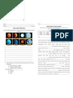 solar system mini-quiz and cloze activity