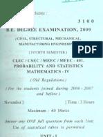 3100 401 Probability & Statistics Maths IV