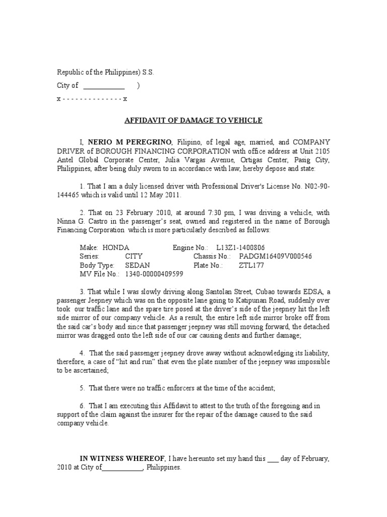 Affidavit of Damage to Vehicle – Affidavit of Loss Template