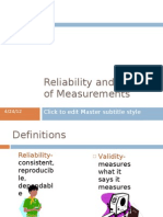 Reliability and Validity of Measurements SV
