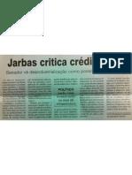 """Jarbas critica crédito farto"", na FolhaPE"